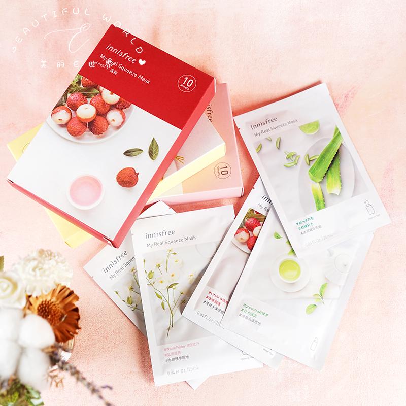 韩国innisfree悦诗风吟植物精华补水面膜贴绿茶大米黄瓜蔷薇 保湿